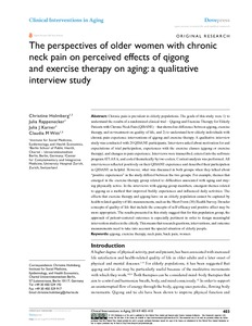 The perspectives of older women with chronic neck pain on