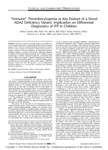 Immune Thrombocytopenia As Key Feature Of A Novel Ada2 Deficiency Variant Implication On Differential Diagnostics Of Itp In Children Zurich Open Repository And Archive
