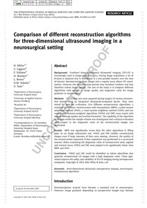 Comparison of different reconstruction algorithms for three